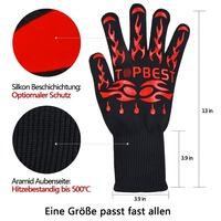 One Pair Red Silicone Heat Resistant BBQ Gloves ,Protect Hands From Fireplace,Oven ,grill ,cooking Up to 932F