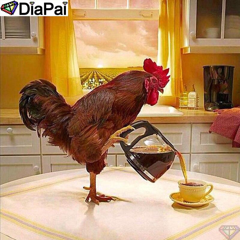 """Алмазная Вышивка крестом DiaPai, вышивка крестом 5D, полностью квадратная/круглая алмазная живопись своими руками, """"Курица/кофе"""", 3D декор A20567 Алмазная роспись, вышивка крестом      АлиЭкспресс"""