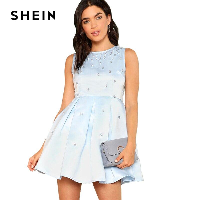 0e3e9b2a7d SHEIN Pearl Embellished Pleated Satin Dress 2018 Summer Round Neck  Sleeveless Short Dress Women Blue Pearls Beaded Elegant Dress
