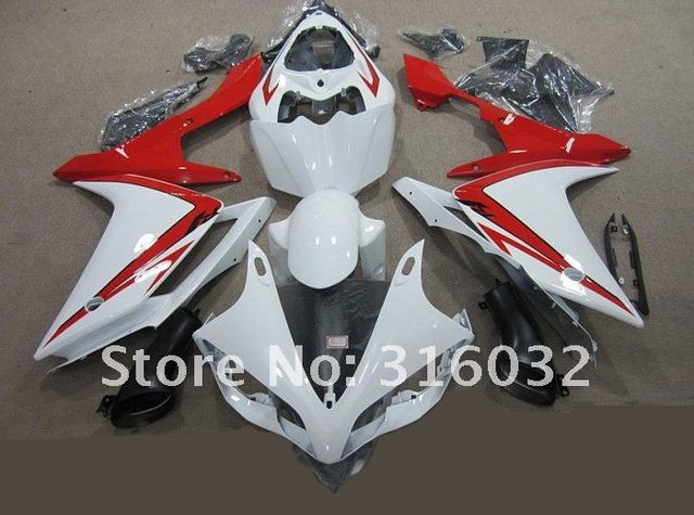 Full set BODYWORK FAIRING For YAMAHA YZF R1 2007 2008 with White and Red paint with Black  windscreen