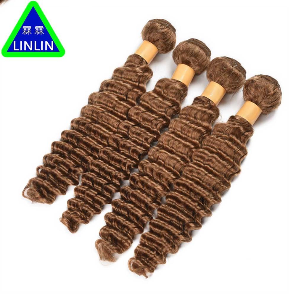 LINLIN Pre-Colored #27 Burmese Deep Wave Hair 4 Bundles Honey Blonde Color Human Hair Weave Non Remy Curly Hair Rollers