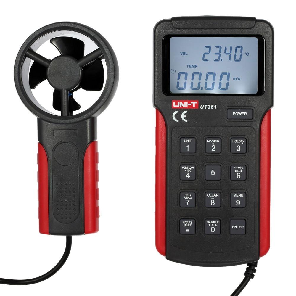 UNI-T UT361 Anemometer Wind Speed gauge meter Air Velocity Flow Temperature Measuring peakmeter ms6252b digital anemometer air speed velocity air flow meter with air temperature humidity rh usb port