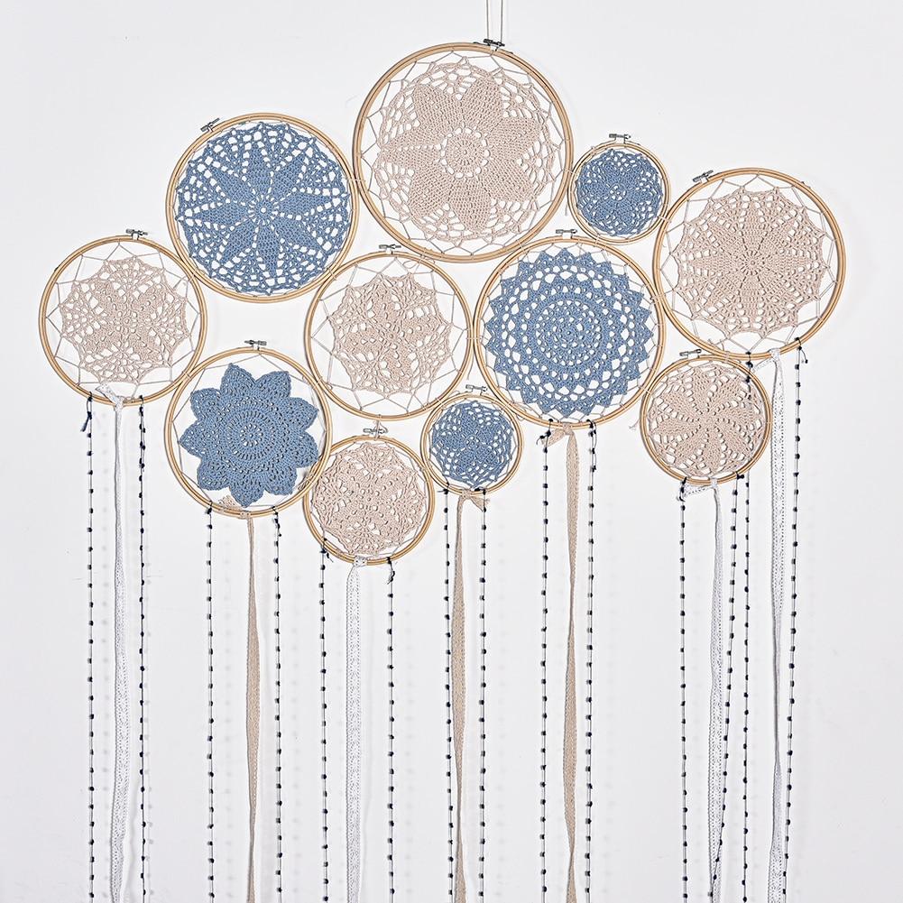 1 Set DIY Large Doily Lace Dream Catcher Set Wedding Background Room Decoration Dreamcatcher attrape reve