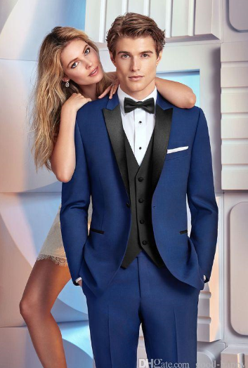 Peaked Lapel Navy Blue Groom Tuxedos Men Formal Suits Business Men Wear Wedding Prom Dinner Suits Custom Made(Jacket+Pants+Tie+V