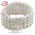 SNH Real Natural Freshwater Pearl Bracelet 9-10mm 4rows jewelry bracelet Genuine Cultured Pearl fine Bracelet women bracelet