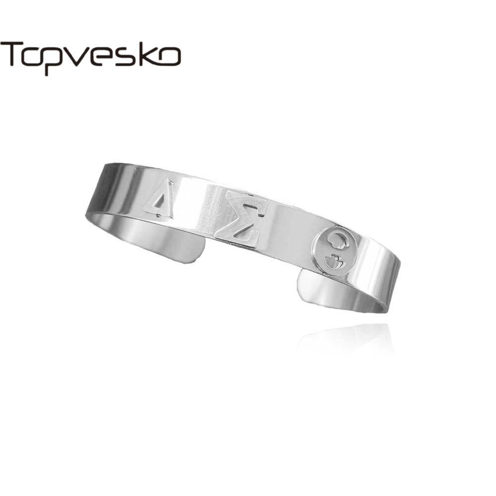 Topvekso Greece Greek Sorority High Quality 316L Stainless Steel  Delta Sigma Theta cuff Bangle Bracelet Jewelry