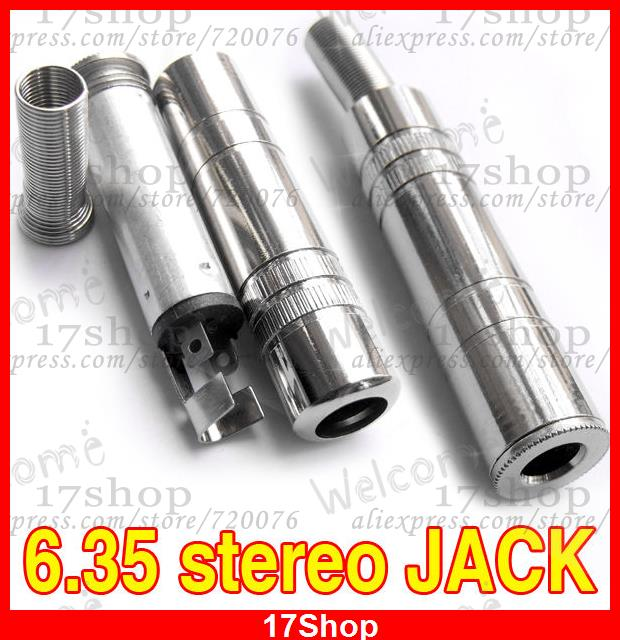 "4PCS Metal 1/4 ""6.35mm Female stereo jack Cable Welding for 6.35mm DJ headphones"