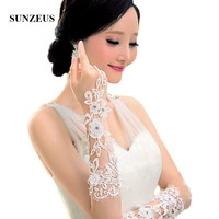 2017 New Bridal Gloves Applique Fingerless Cheap Opera Length Gloves Lace Brides Wedding Accessories S12