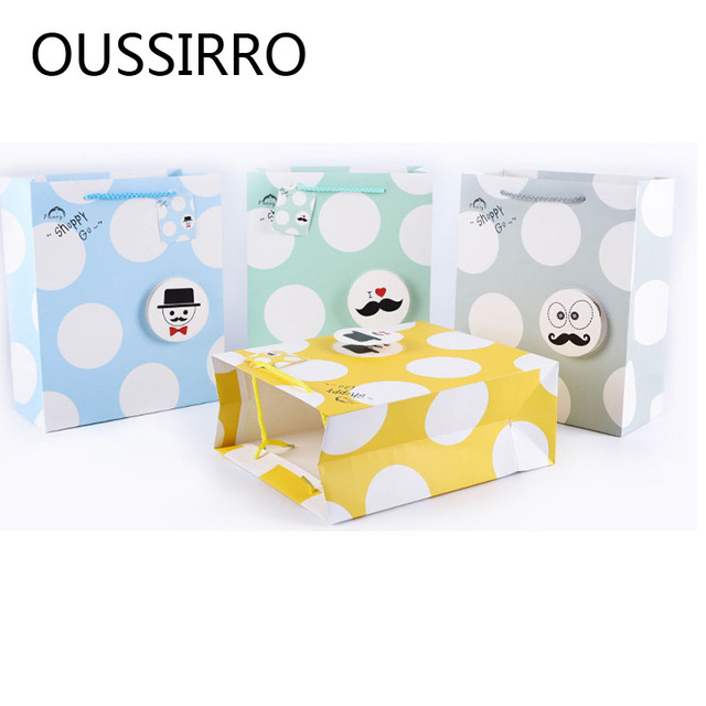 Small Fresh Polka Dot Gift Paper Bag Kawaii Spring Stick Gift Bag Wedding Birthday Party Decoration Candy Cookies Packaging Bags