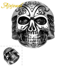 Ajojewel Mysterious Men Punk Skull Ring For Women Retro 316L Stainless Steel Jewelry Wholesale