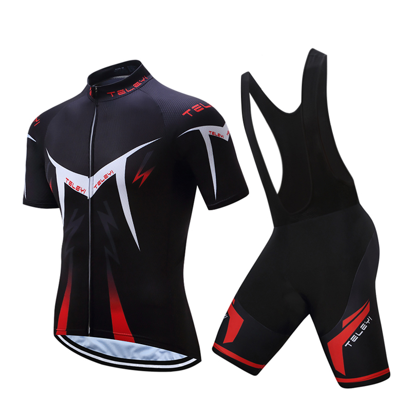 Men TELEYI Summer Cycling Jersey Kits Male 2017 Racing Bike Clothing Mtb Mallot Uniform Bicycle Skinsuit Equipment Clothes Sets
