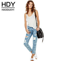 HDY Summer Autumn Jeans Women Fashion Mid Waist Hole Washed Ripped Jeans Casual Cut Out Pants
