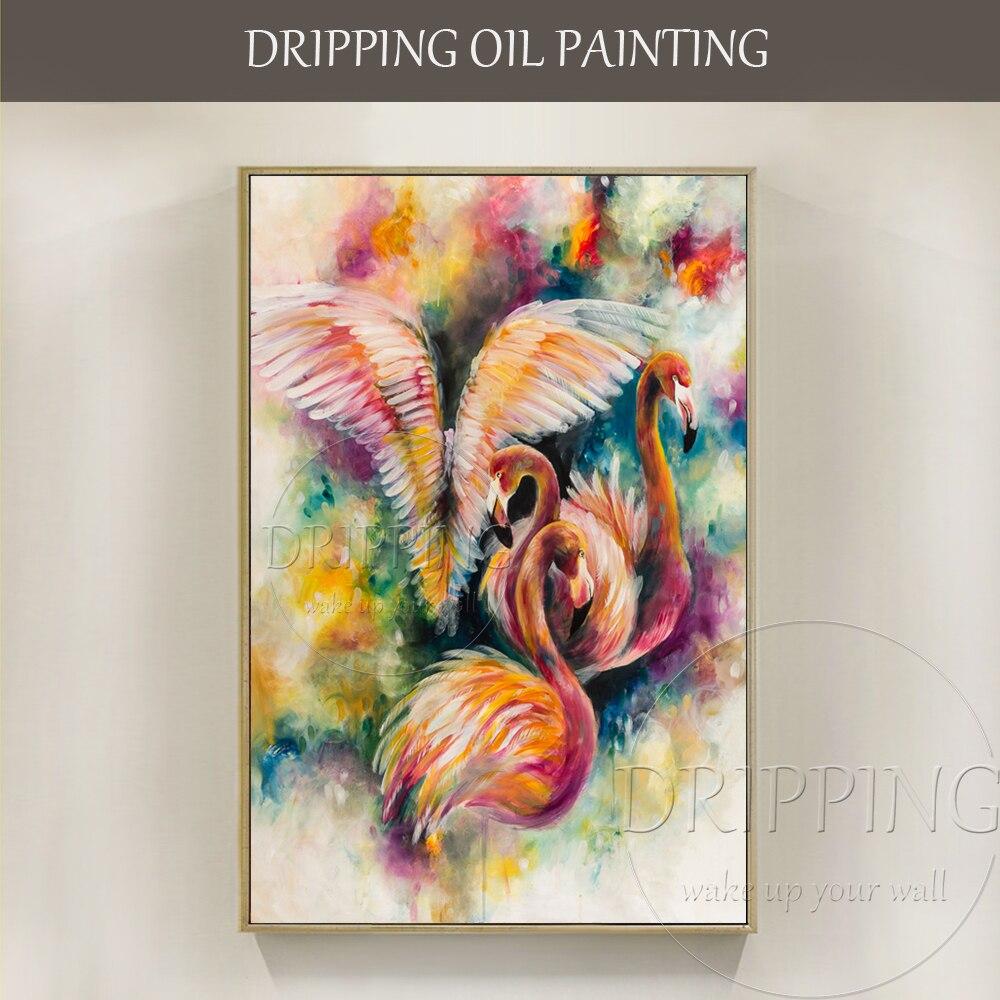 Couleurs riches à la main abstraite Animal Flamingo peinture à l'huile sur toile Unique oiseau couleurs vives rose Animal Flamingo peinture à l'huile