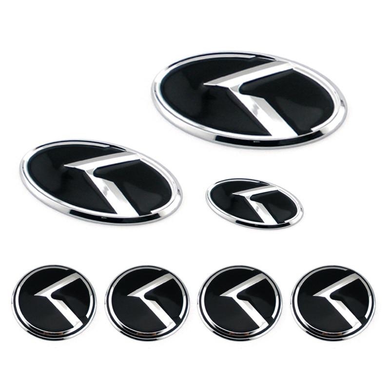 K logotipo 3d adesivo carro dianteiro traseiro volante crachá centro hub tampa capa emblema para kia optima k2/k3/k4/k5 venga