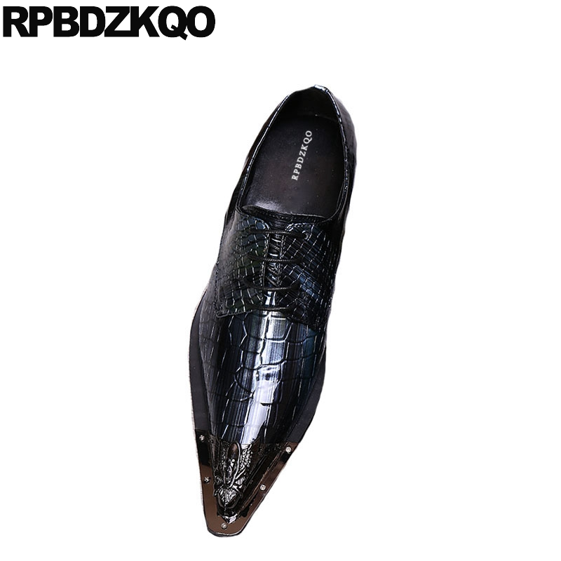 Large Size Snakeskin Italy Men Black Patent Leather Dress Shoes Gold Snake Skin Wedding Pointed Toe Boys 11 Italian Party 46 Shoes