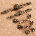 Flor Vintage Bronze Liga de Metal punho Maçanetas De Gaveta Do Armário Roupeiro Armário Pull Maçanetas Móveis Hareware