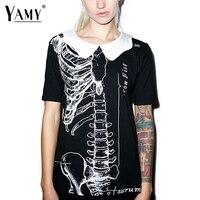 Fashion Skeleton Print T Shirt Women New Halloween Doll Collar Black Tops Tees 2016 Harajuku Punk