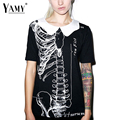 Halloween skeleton print t shirt women New Fashion doll collar black tops tees 2016 harajuku punk letter cotton blusa plus size