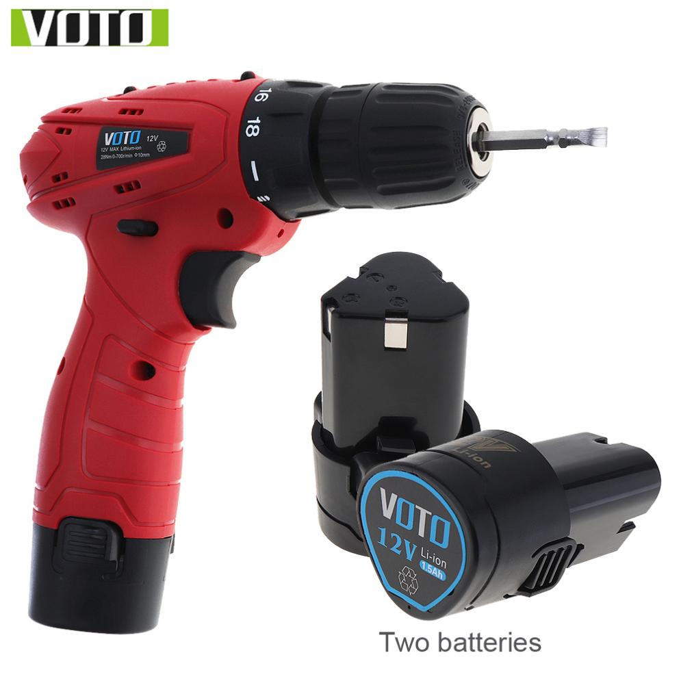 VOTO Handling Screws Punching AC 100 240V Cordless 12V Electric Screwdriver with 2 Lithium Batteries