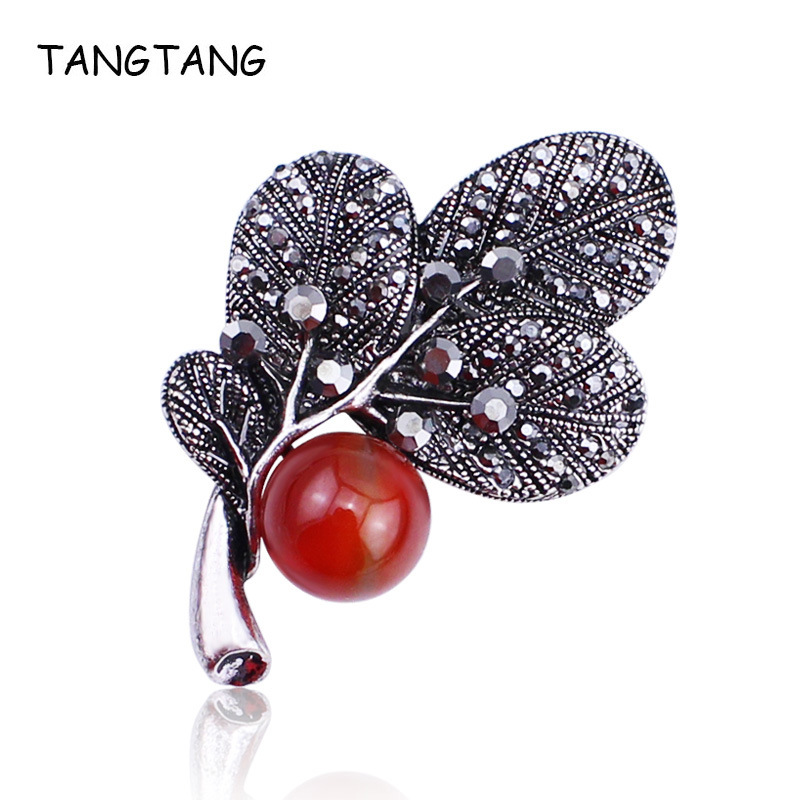 Antiquer Silver / Rhodium Pating Plant Tree Brooch Pin With Red Nature Stone / Grey Simulated Pearl Rhinestone Crystal Jewelry