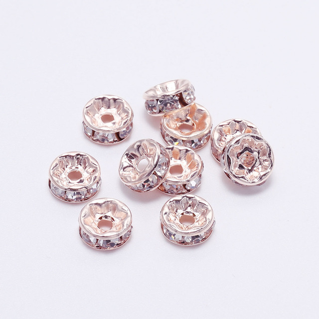 50pcs/lot 4 6 8 10mm Gold  Rhinestone Rondelles Crystal Bead Loose Spacer Beads for DIY Jewelry Making Accessories Supplie