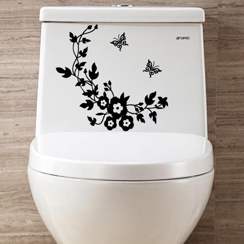 Экологичные цветок сиденье для унитаза стены Стикеры Ванная комната украшения наклейки декор бабочка росписи Adesivo де Parede стены Стикеры