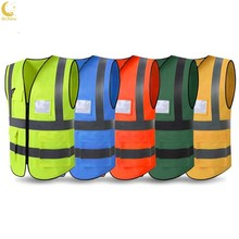 Ochine High Visibility Reflective Safety Vest Reflective Vest Multi Pockets Workwear Safety Waistcoat Party Tools(China)