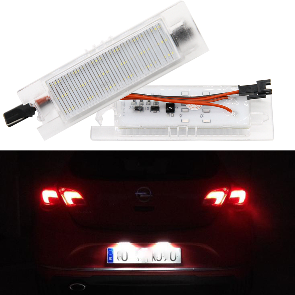 2pcs Car-Styling LED License Plate Lights for Vauxhall Opel Astra H J Corsa C D Insignia Tigra B Twintop Vectra C Zafira B OPC led lamps lights white plate vauxhall opel corsa astra insignia vectra