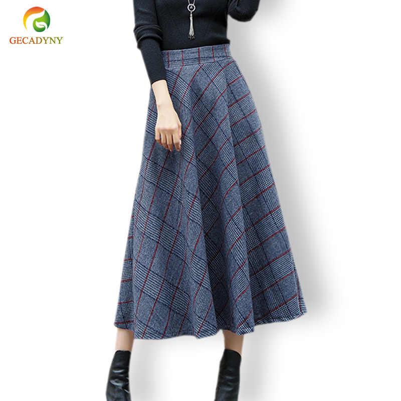 c20ce149588 Высокая талия шерстяное макси юбки Для женщин зима 2018 мода плед шерсть  юбка дамы Повседневное теплый