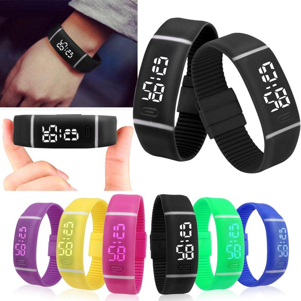 e3e0e5715644 Hombre relojes deportivos de goma reloj LED fecha pulsera Brazalete reloj  de pulsera Digital excelente montre homme Superior reloj de pulsera negro  en ...