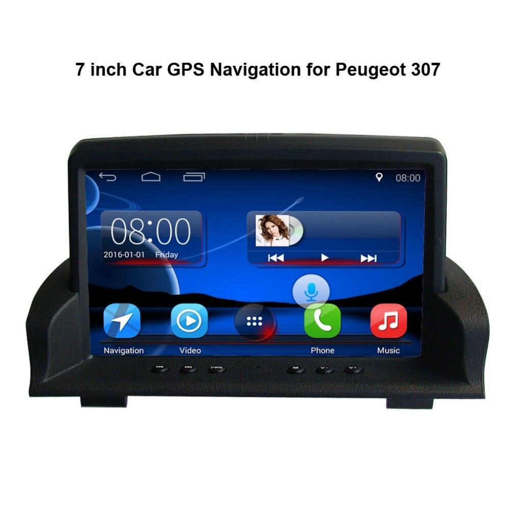 7 pouces Android 7.1 Capacité écran tactile lecteur multimédia de voiture pour Peugeot 307 GPS navigation bluetooth lecteur vidéo
