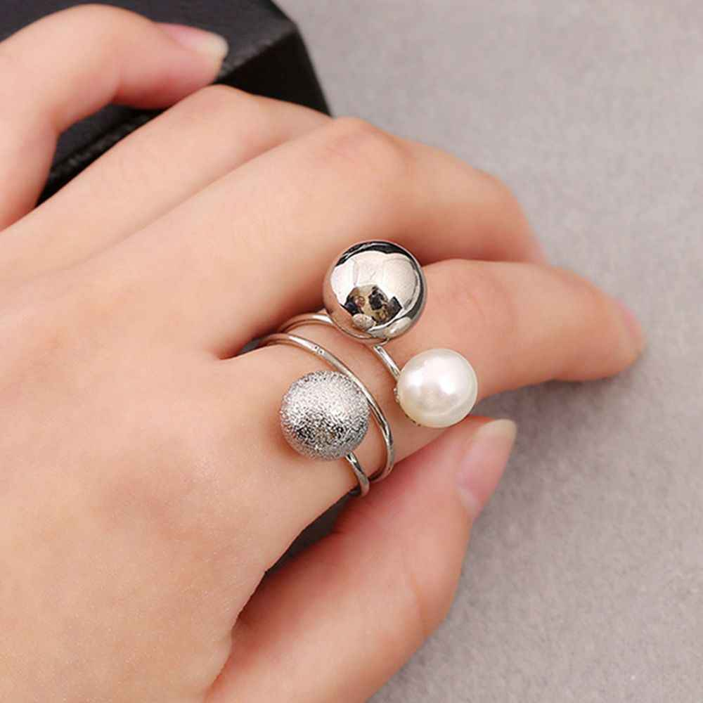 1 Pcs Woman Fashion Exaggeration Jewelry Accessories Finger Rings Metal Balls Simulated Pearl Adjustable Opening Rings