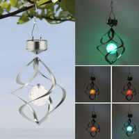 Xmas Color Changing Solar Powered Garden Light Outdoor Courtyard Hanging Spiral Lamp LED Wind Spinner garden Tree Lights Decor