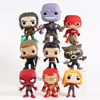 Marvel DC Super Hero Aquaman Thanos Flash Thor Ant Man Rocket Spiderman Iron Man Captain Marvel PVC Figures Toys 9pcs/set