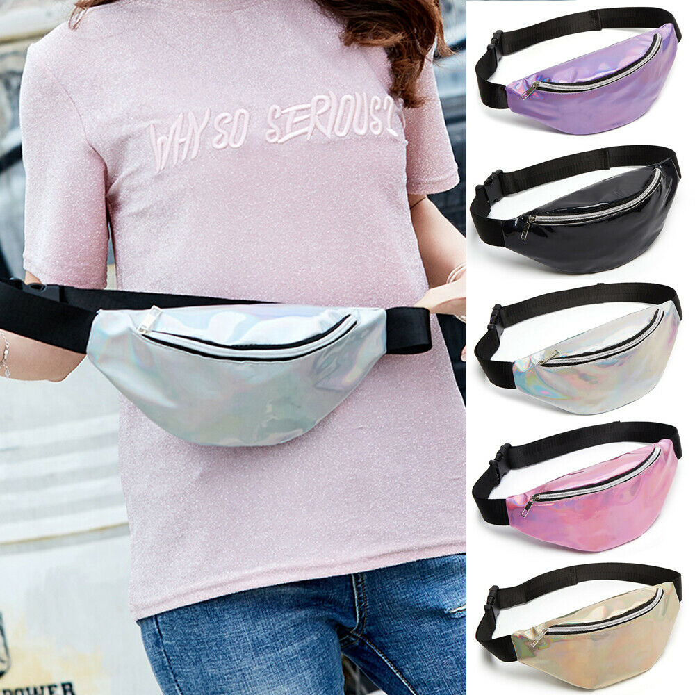 Sequin Women Waist Bag Fanny Pack Running Zip Belt Money Pouch Holiday Waterproof Female Belt Bag Waist Packs Laser Phone Pouch