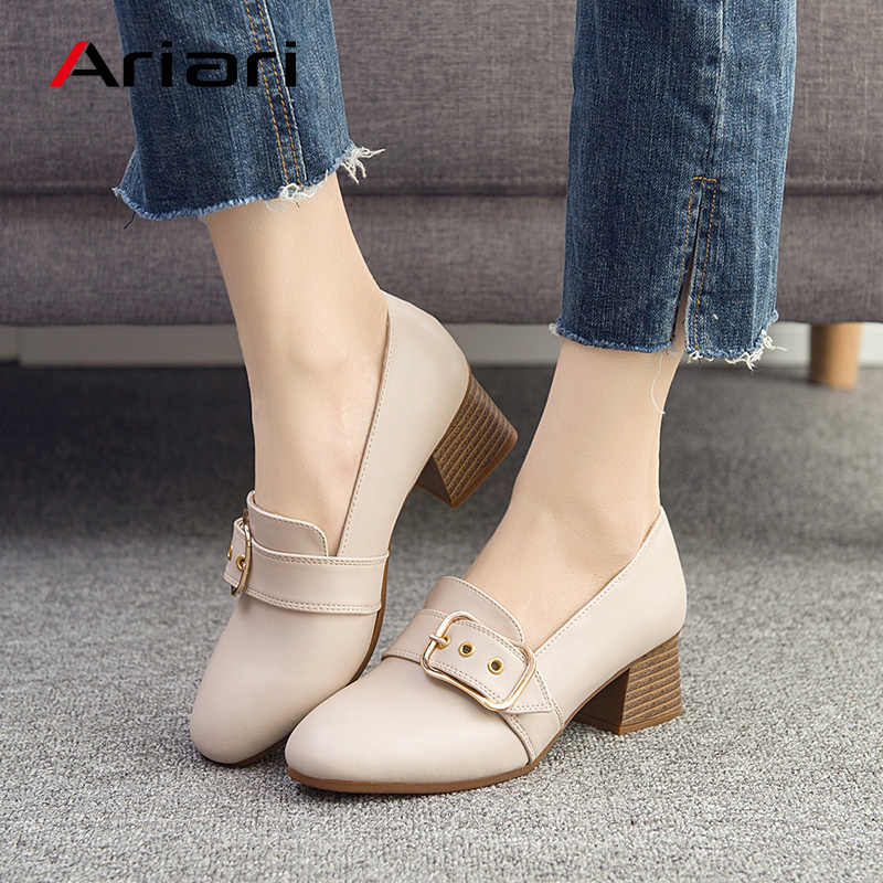 a26f3c033 Ariari 2018 Luxury Women High Heels Loafers Genuine Leather Boat Shoes Lady Buckle  Square Heel Shoes