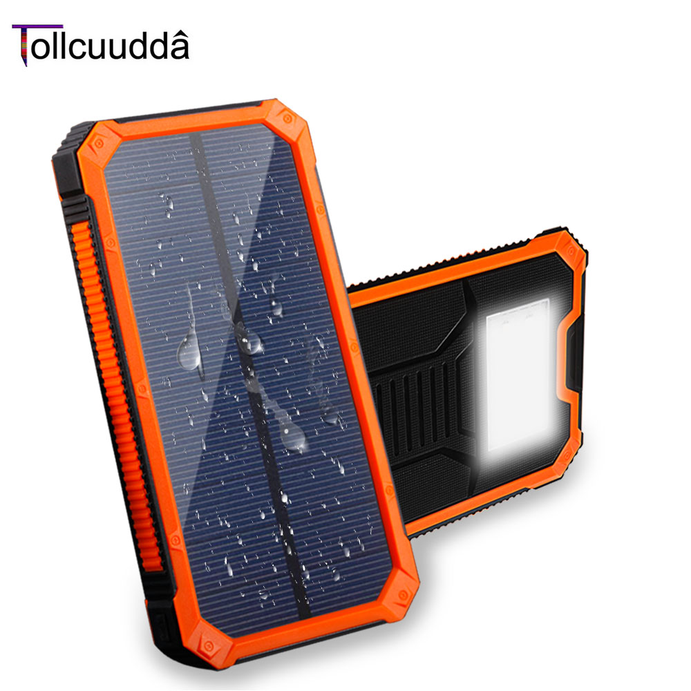 Tollcuudda 10000mAh Solar Power Bank Mobile Portable Charger External Battery LED Solar Charger For Xiaomi Iphone5s