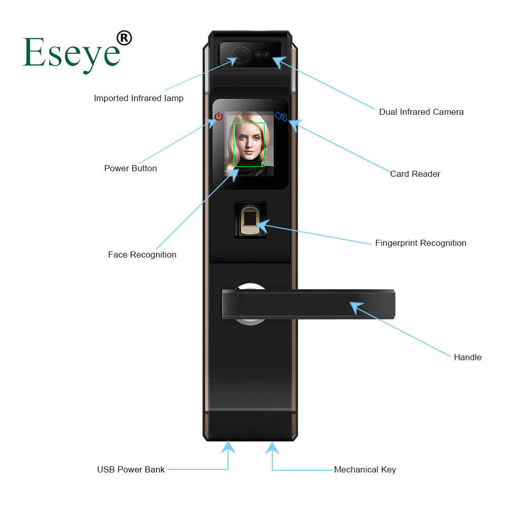 Eseye Electronic Lock Door Face Digital Door Lock Fingerprint Intelligent Electronic Locks Smart Door Lock Touch Screen Keyless 2017 high security wireless electronic door lock biometric smart door lock digital touch screen keyless fingerprint door lock