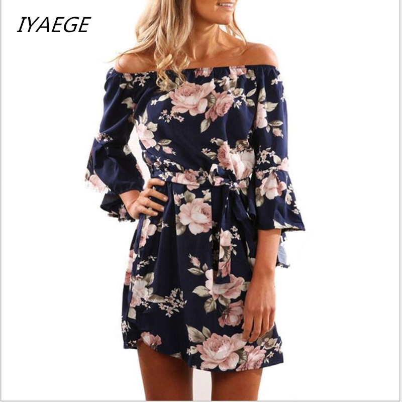 IYAEGE Dresses For Women Summer Ladies Multicolor Floral Print Three Quarter Sleeve Off The Shoulder Loose Casual Dress