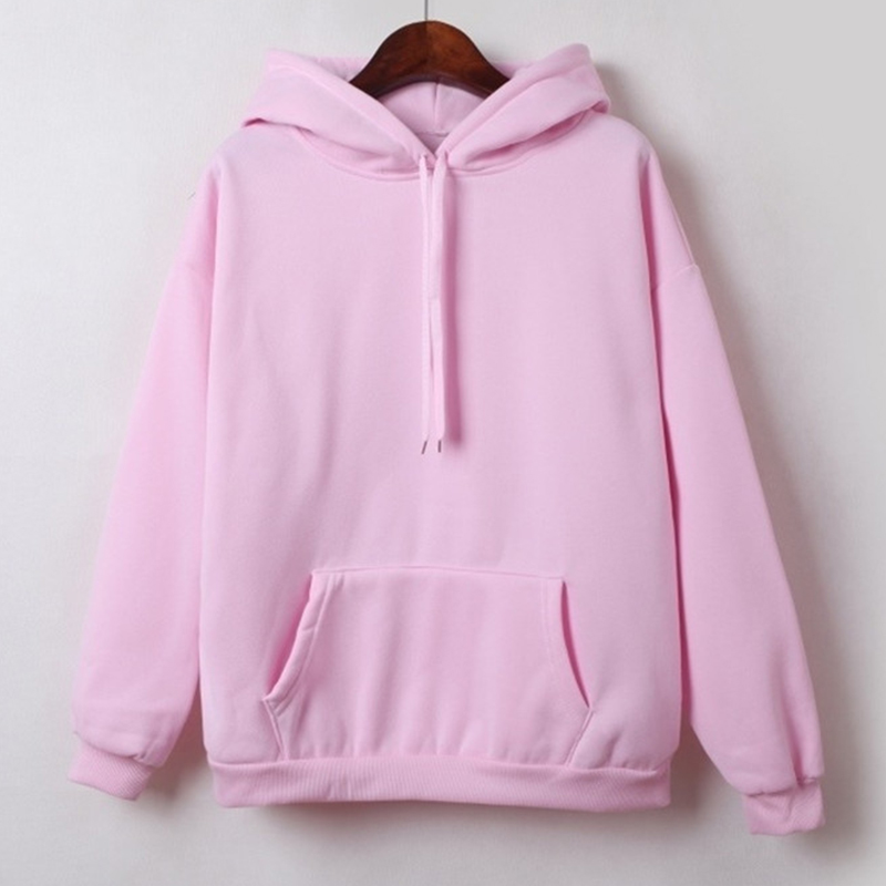 2019 New Social Harajuku Hoodies For Girls Solid Color Hooded Tops Women s Sweatshirt Long sleeved