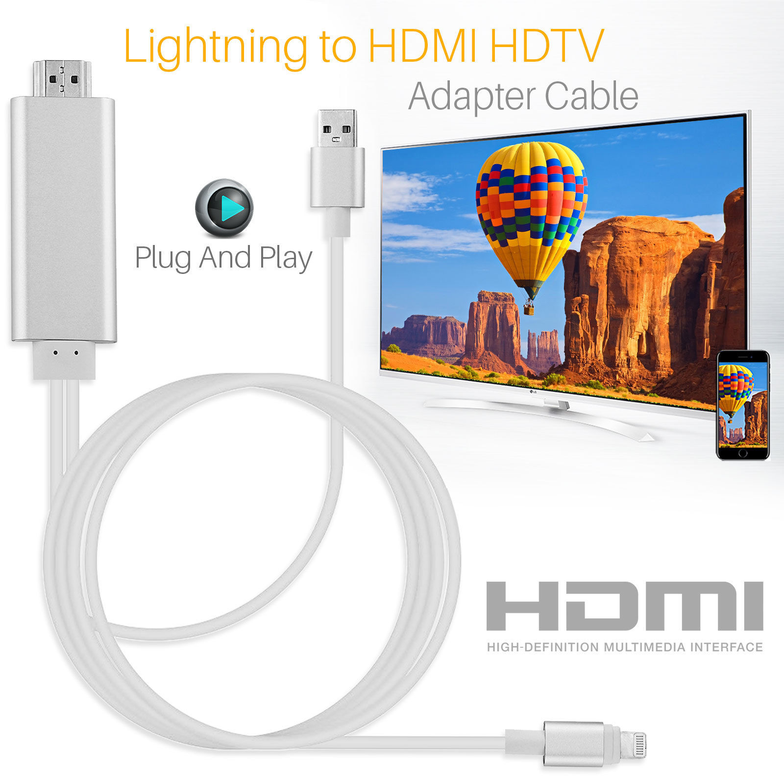 HDMI Cable For Lightning to HDMI Cable HDTV TV AV Adapter USB Cable 1080P For iPad Air /iPad mini 2 3 4 iPhone X 8 7 6S Plus iOS for ipad to hdmi adapter for lightning to digital av hdmi 4k usb cable connector up to 1080p hd for iphone x 8 76s ipad air ipod