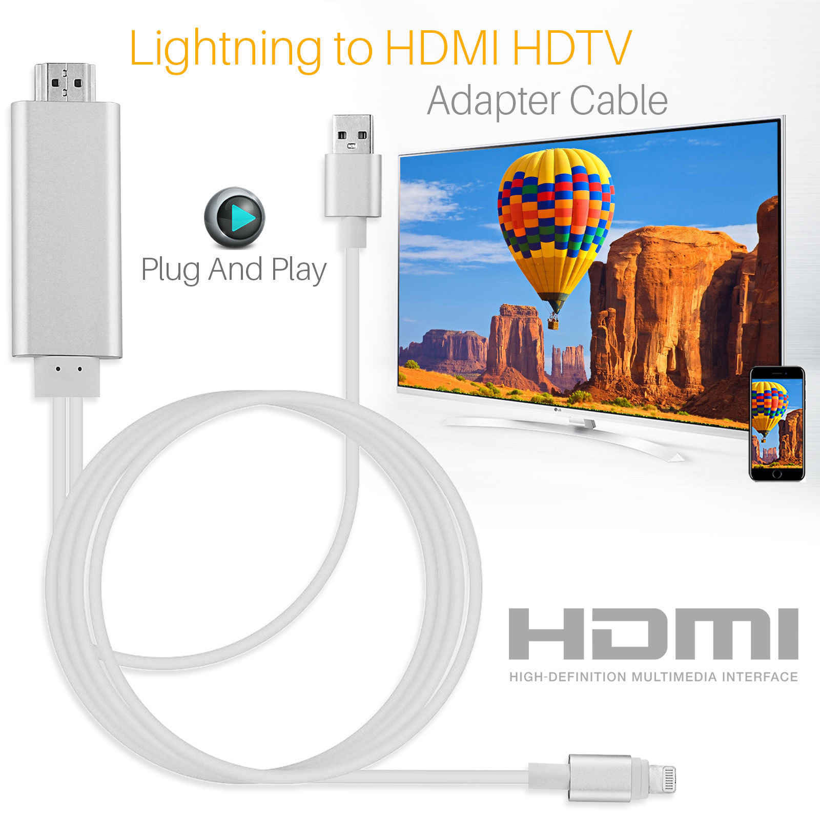 HDMI Cable For Lightning to HDMI Cable HDTV TV AV Adapter USB Cable 1080P For iPad Air /iPad mini 2 3 4 iPhone X 8 7 6S Plus iOS