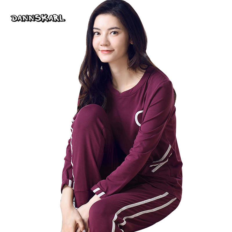 Autumn Winter Pure Cotton Two-piece Women's   Pajama     Sets   Night Leisure Long Pants Sleeved Woman Nightgowns Pyjama Sleep Lounge