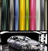 Различные Цвет Chrome атласная виниловая обертка металлик автомобиля обёрточная бумага фольга с пузырьков воздуха как 3 м качество с малоадгезивный клей 1,52×20