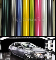Various Color Chrome Satin Metallic Vinyl Wrap Car Wrap Foil with air bubble free Like 3M quality With Low tack glue 1.52x20m