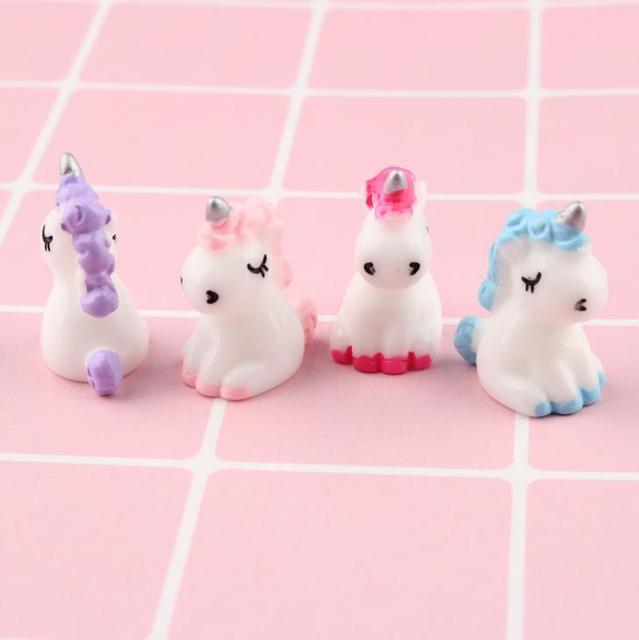 4 Pcs/set Cartoon Mini Resin Unicorn Miniature Cute Fairy Micro Landscape Unicorn Decor Figurine Home Garden Decors 2