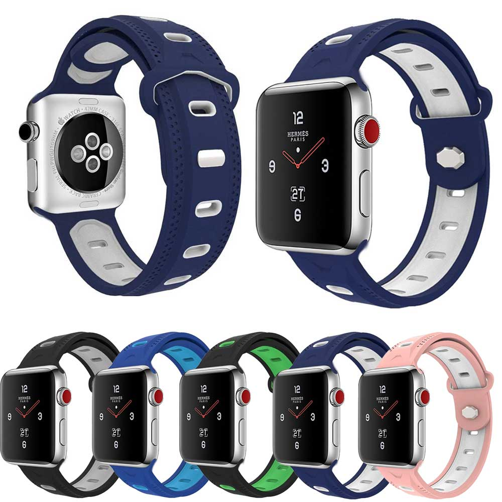 2018 New Sport Silicone strap for Apple watch band 42mm 38mm bracelet wrist belt Rubber watchband for apple watch 3 iWatch 2/1 joyozy sport silicone band strap for apple watch nike 42mm 38mm bracelet wrist band protector watch watchband for iwatch 3 2 1