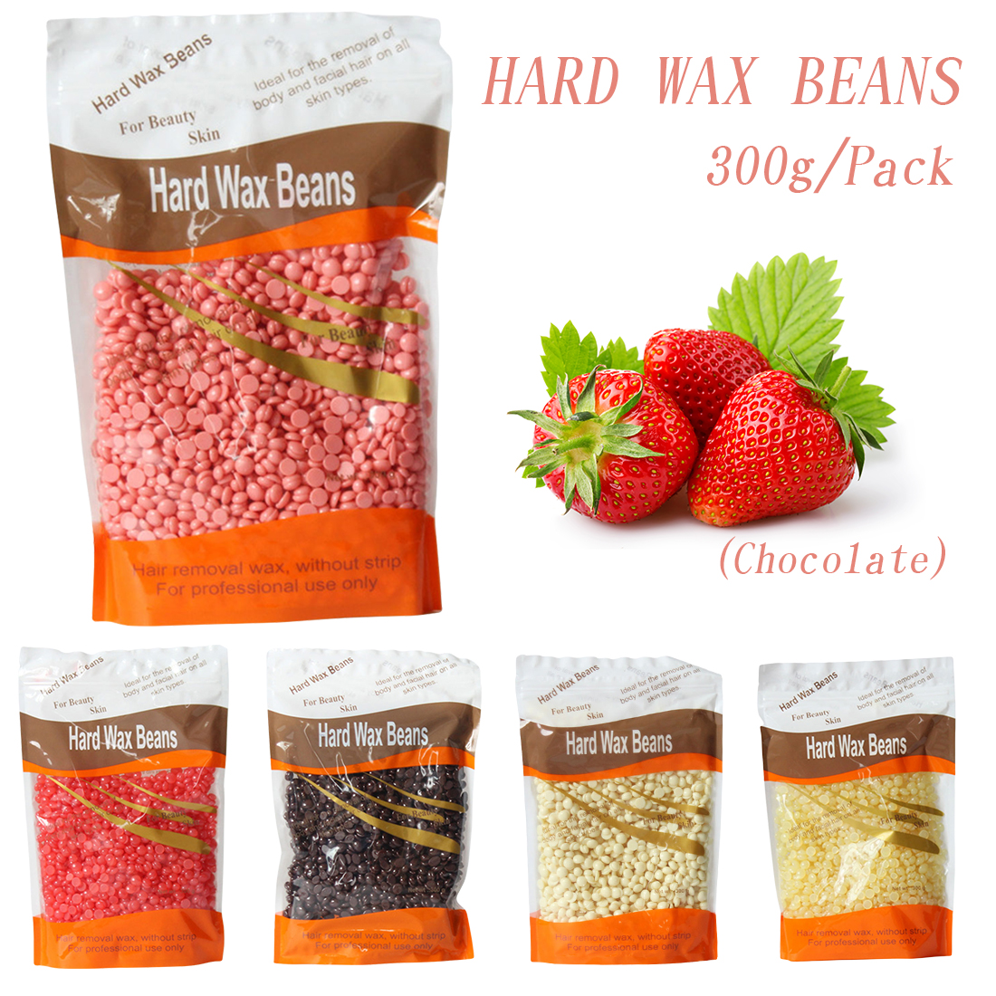 5 Flavors Paper Free Depilatory Wax Hair Removal Solid Hard Wax Beans 300g/Pack for Men/Women Body Hair Epilation Bikini Arm парафин oneball x wax 5 pack assorted