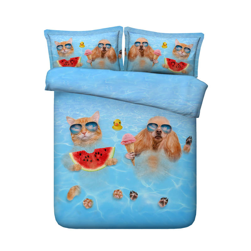 swimming cat dog comforter bedding set twin queen super king size bed cover blue Hawaii style summer home decor 3d bed linen kid