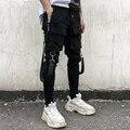 Уличная черная штаны-шаровары мужские панковские штаны с эластичной резинкой на талии с лентами повседневные Тонкие штаны для бега мужские брюки в стиле хип-хоп - фото